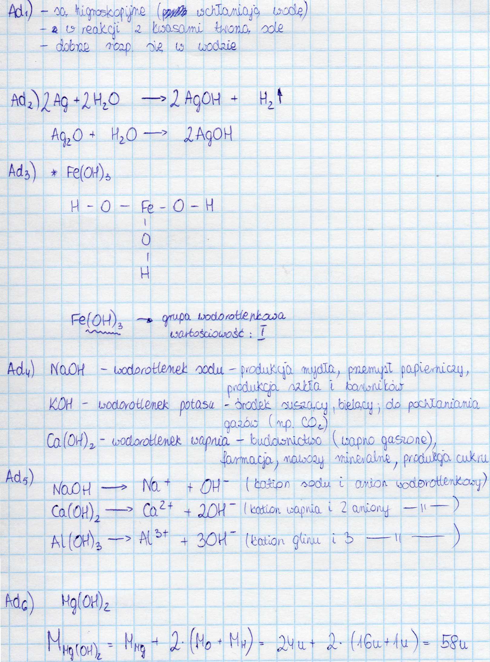 najważniejsze informacje chemia gimnazjum